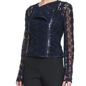 NWT Tahari Deanna Navy Lace Jacket-size 12